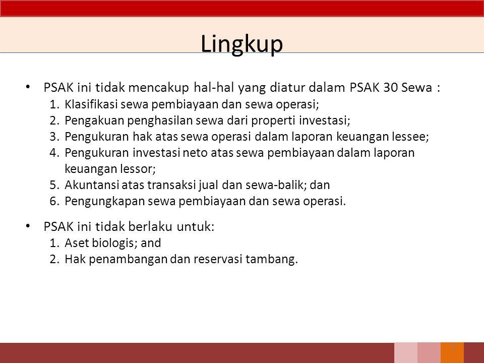 Lingkup PSAK ini tidak mencakup hal-hal yang diatur dalam PSAK 30 Sewa : 1. Klasifikasi sewa pembiayaan dan sewa operasi;
