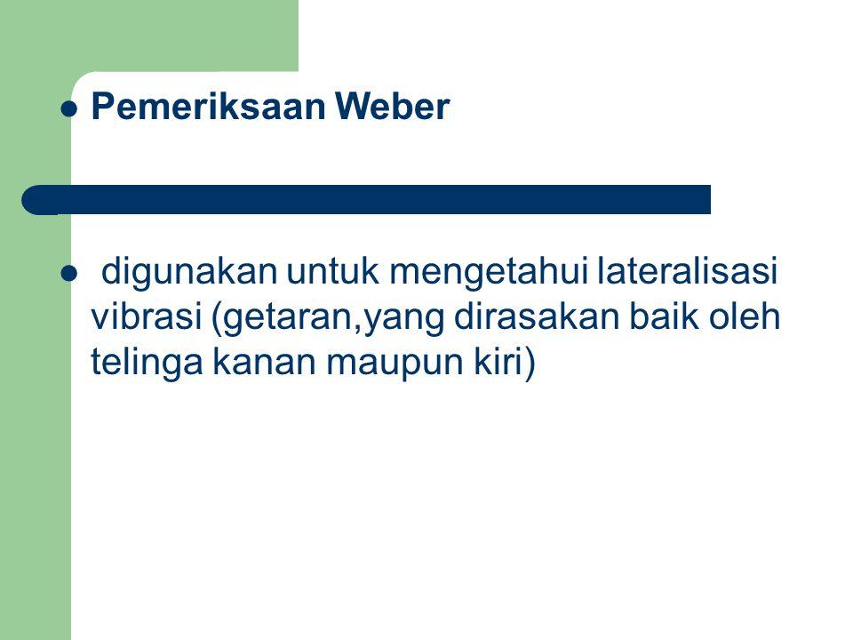 Pemeriksaan Weber digunakan untuk mengetahui lateralisasi vibrasi (getaran,yang dirasakan baik oleh telinga kanan maupun kiri)