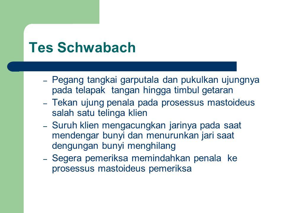 Tes Schwabach Pegang tangkai garputala dan pukulkan ujungnya pada telapak tangan hingga timbul getaran.
