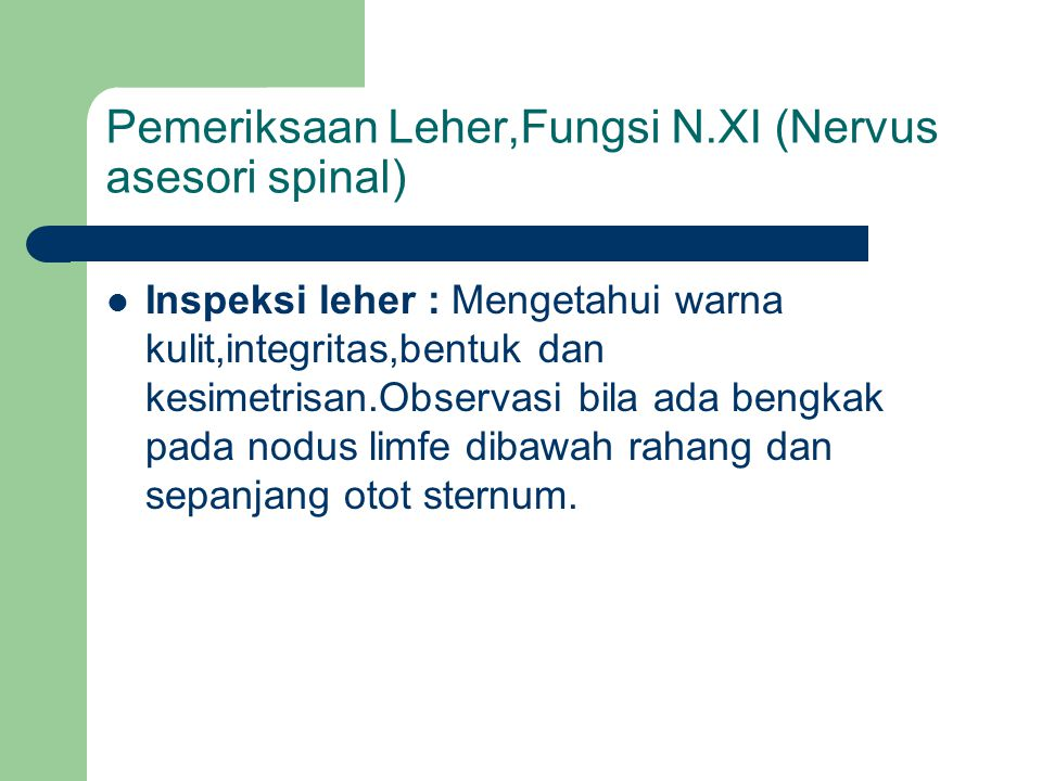 Pemeriksaan Leher,Fungsi N.XI (Nervus asesori spinal)