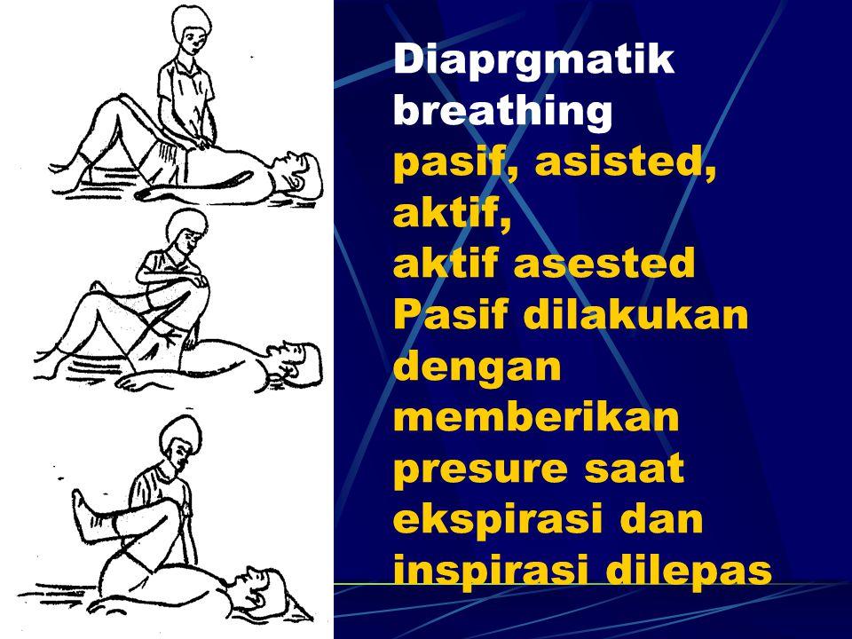 Diaprgmatik breathing pasif, asisted, aktif, aktif asested Pasif dilakukan dengan memberikan presure saat ekspirasi dan inspirasi dilepas