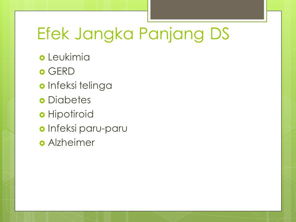 Efek Jangka Panjang DS Leukimia GERD Infeksi telinga Diabetes