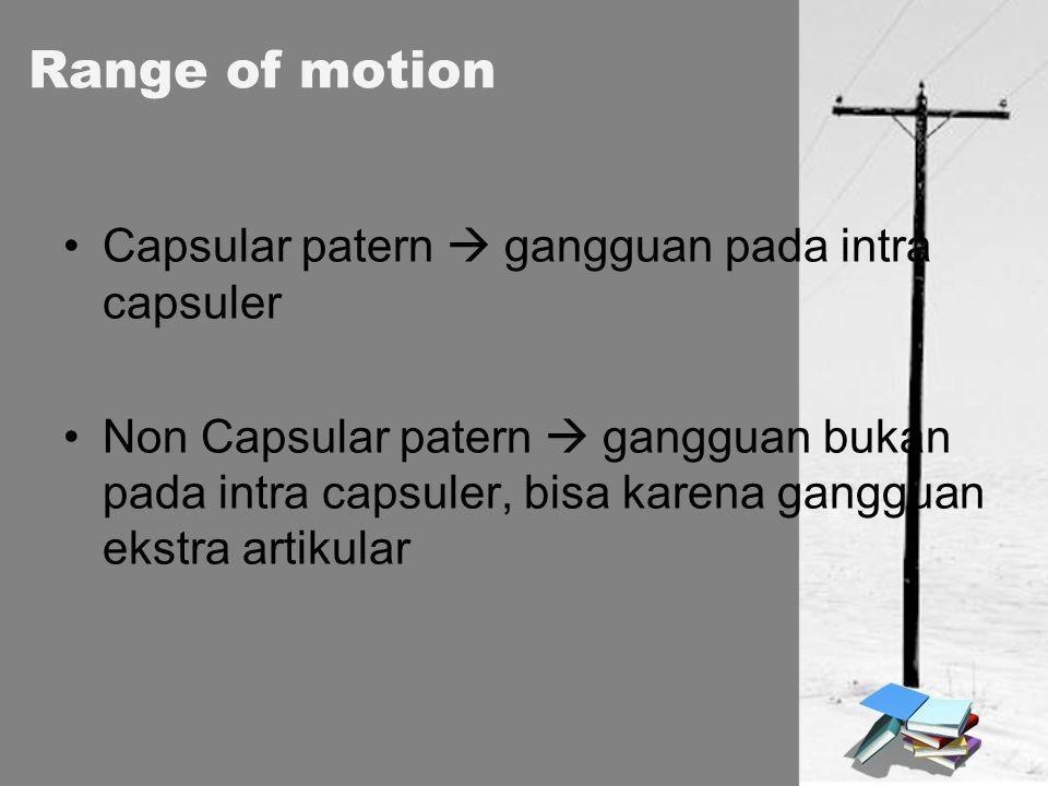 Range of motion Capsular patern  gangguan pada intra capsuler