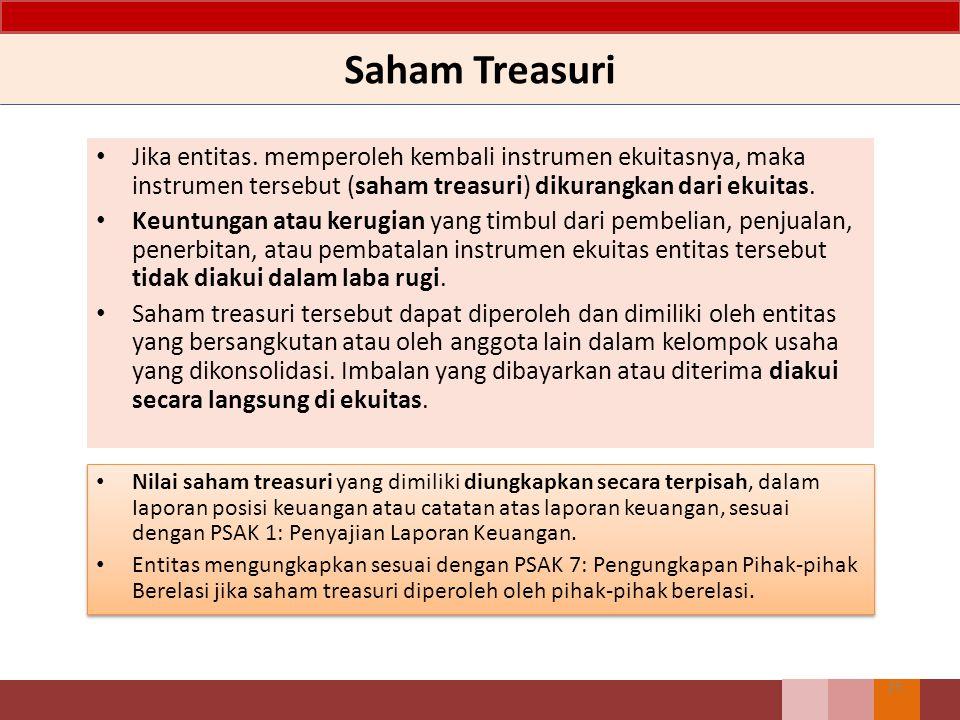 Saham Treasuri Jika entitas. memperoleh kembali instrumen ekuitasnya, maka instrumen tersebut (saham treasuri) dikurangkan dari ekuitas.