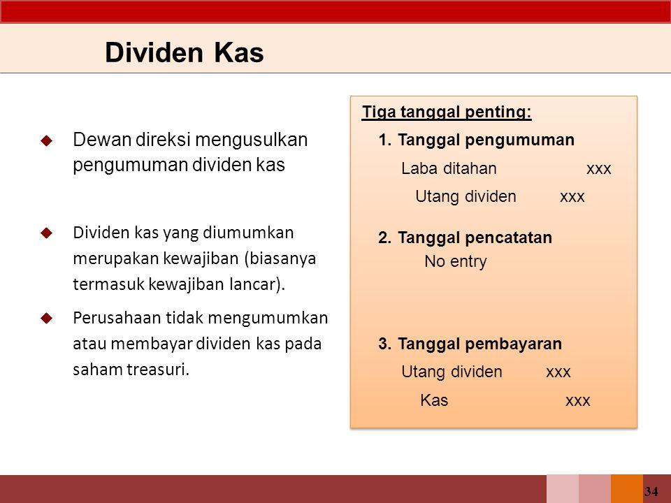 Dividen Kas Dewan direksi mengusulkan pengumuman dividen kas