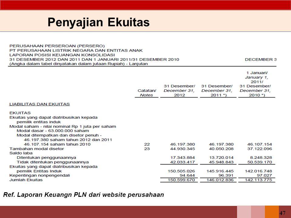 Penyajian Ekuitas Ref. Laporan Keuangn PLN dari website perusahaan 47