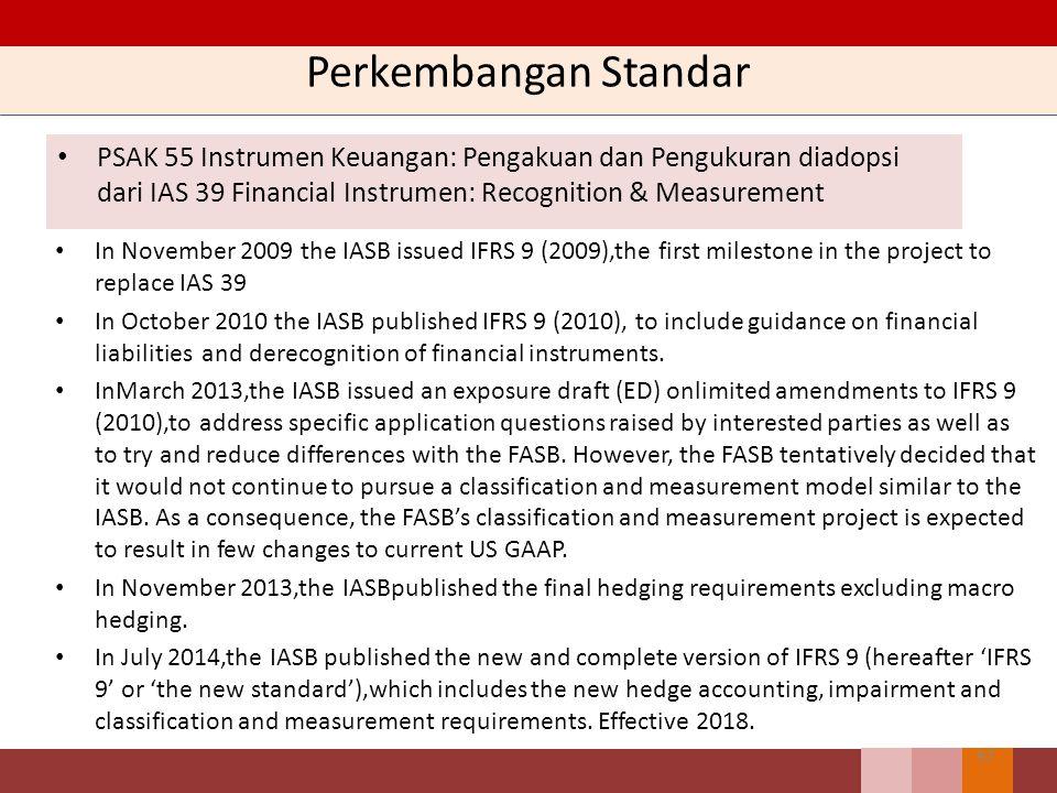 Perkembangan Standar PSAK 55 Instrumen Keuangan: Pengakuan dan Pengukuran diadopsi dari IAS 39 Financial Instrumen: Recognition & Measurement.
