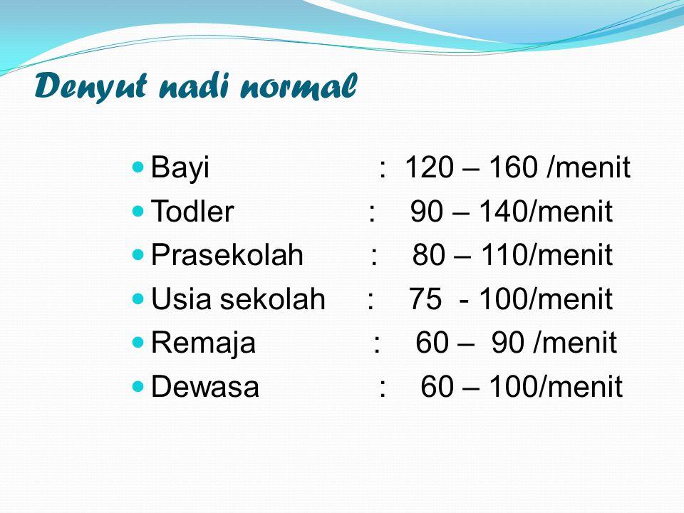 Denyut nadi normal Bayi : 120 – 160 /menit Todler : 90 – 140/menit