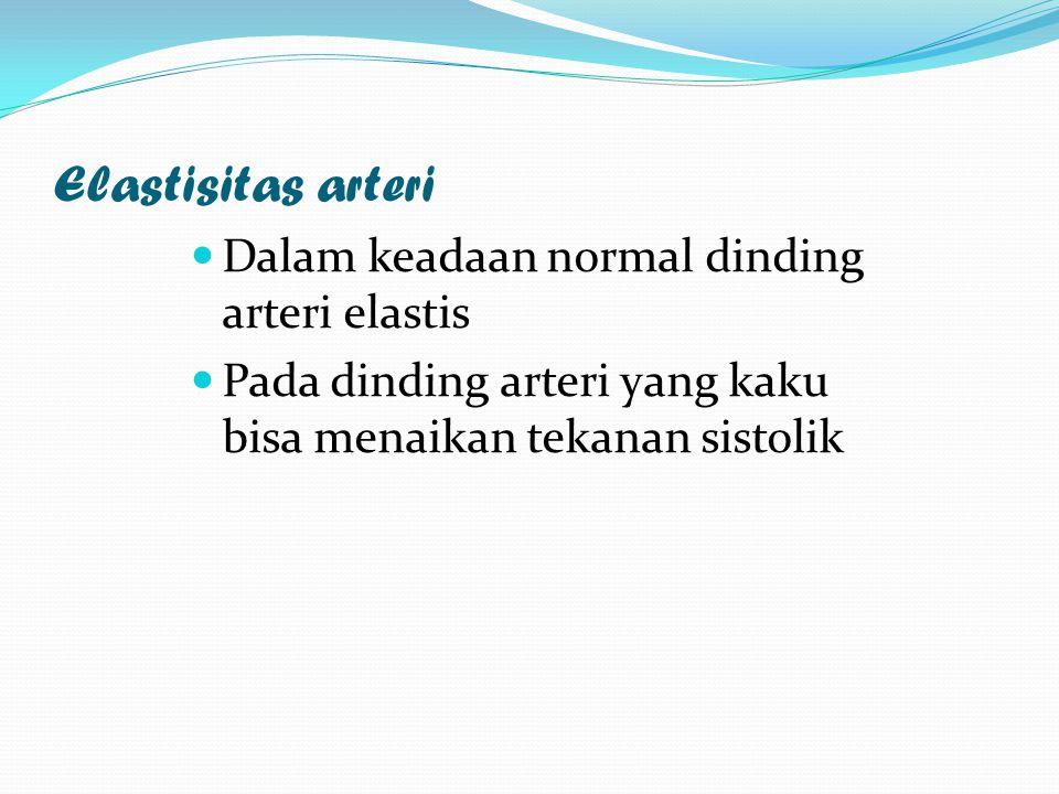 Elastisitas arteri Dalam keadaan normal dinding arteri elastis