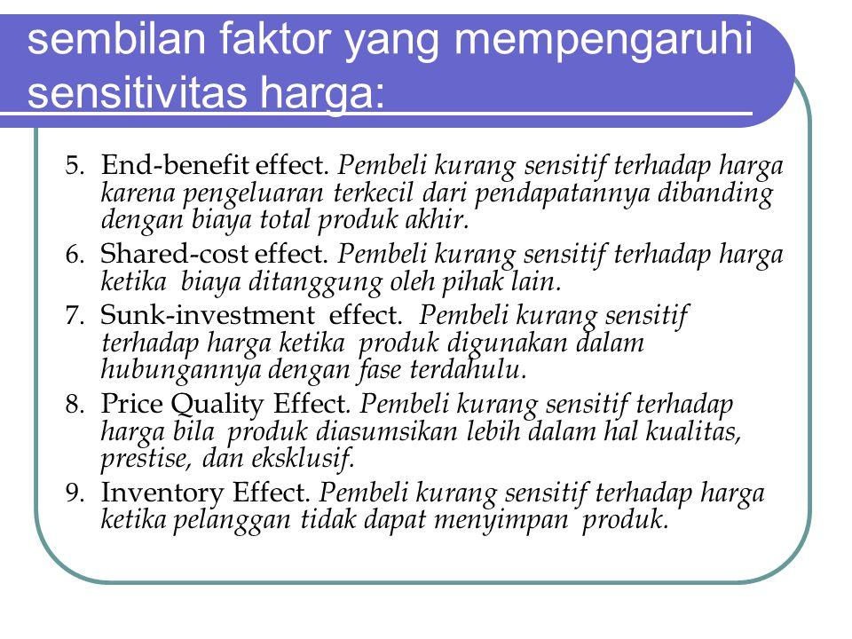 sembilan faktor yang mempengaruhi sensitivitas harga: