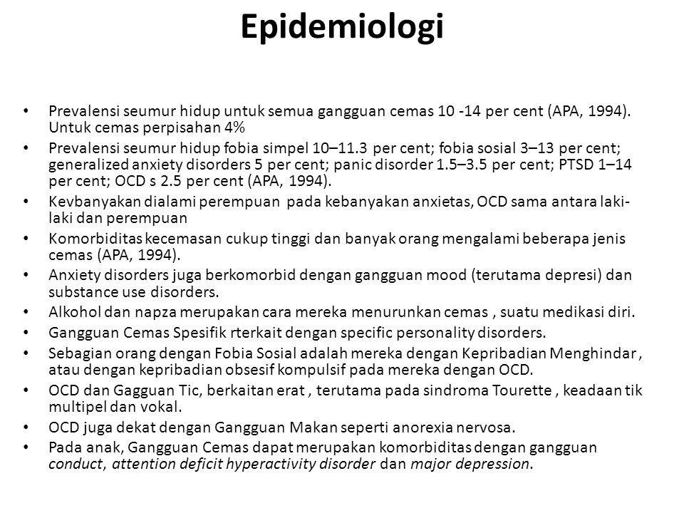 Epidemiologi Prevalensi seumur hidup untuk semua gangguan cemas 10 -14 per cent (APA, 1994). Untuk cemas perpisahan 4%