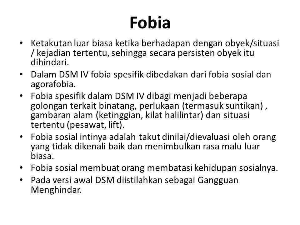 Fobia Ketakutan luar biasa ketika berhadapan dengan obyek/situasi / kejadian tertentu, sehingga secara persisten obyek itu dihindari.