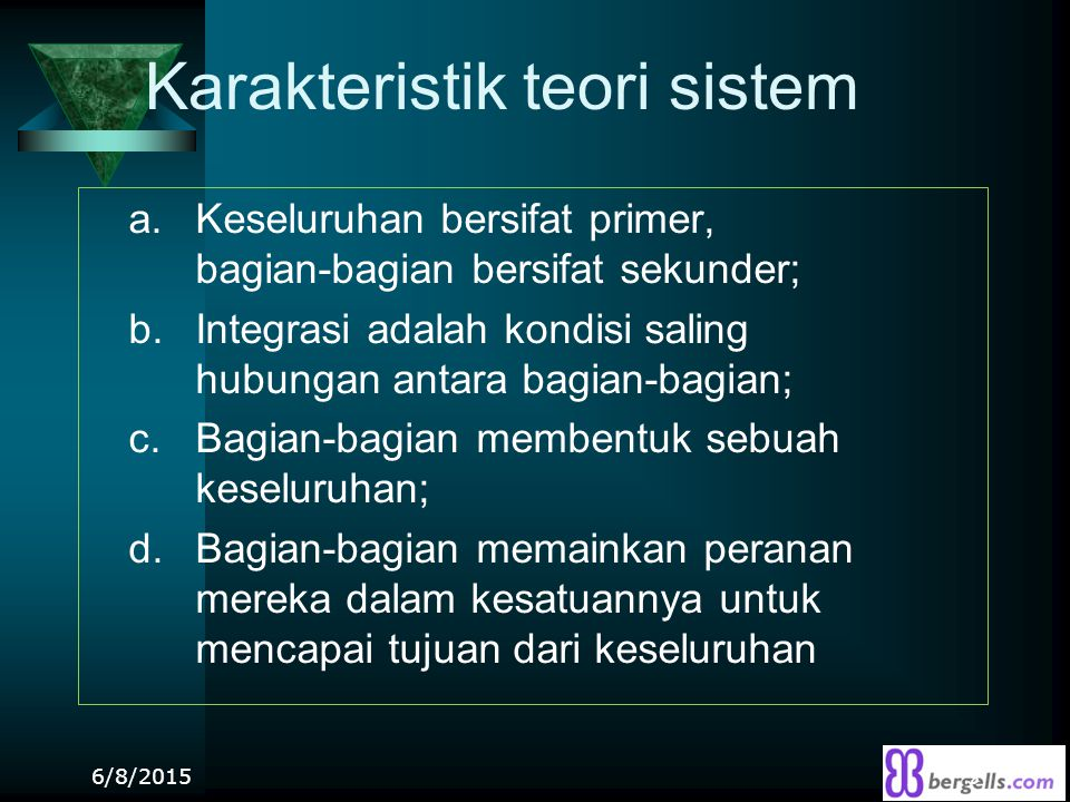 Karakteristik teori sistem