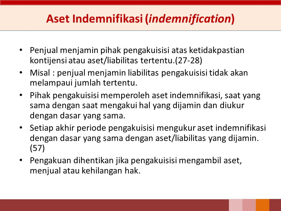 Aset Indemnifikasi (indemnification)