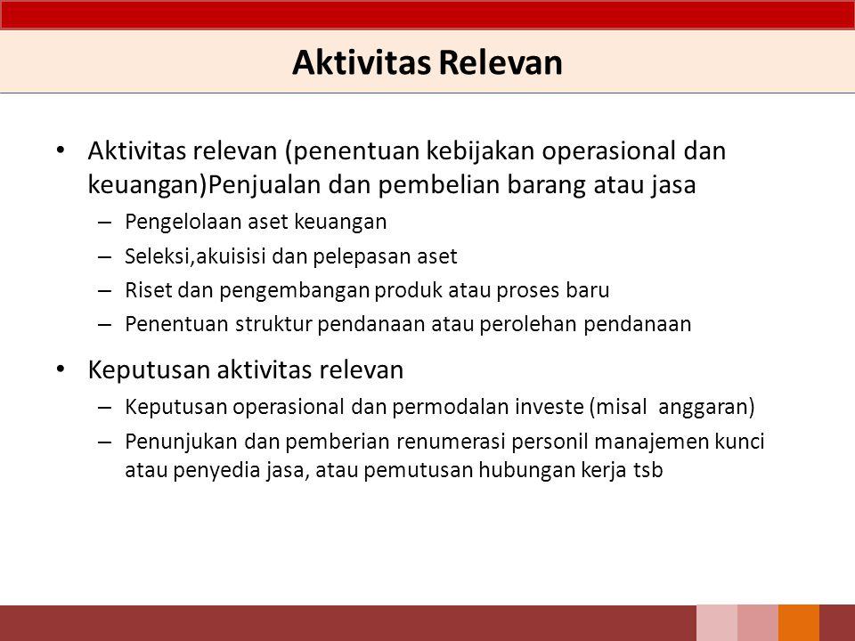 Aktivitas Relevan Aktivitas relevan (penentuan kebijakan operasional dan keuangan)Penjualan dan pembelian barang atau jasa.