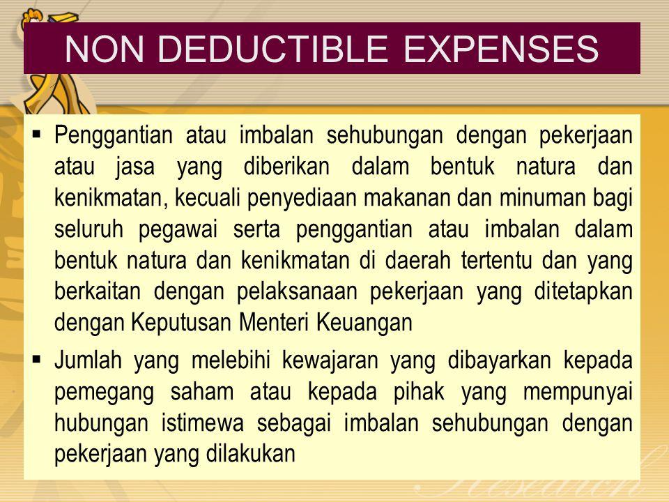 NON DEDUCTIBLE EXPENSES