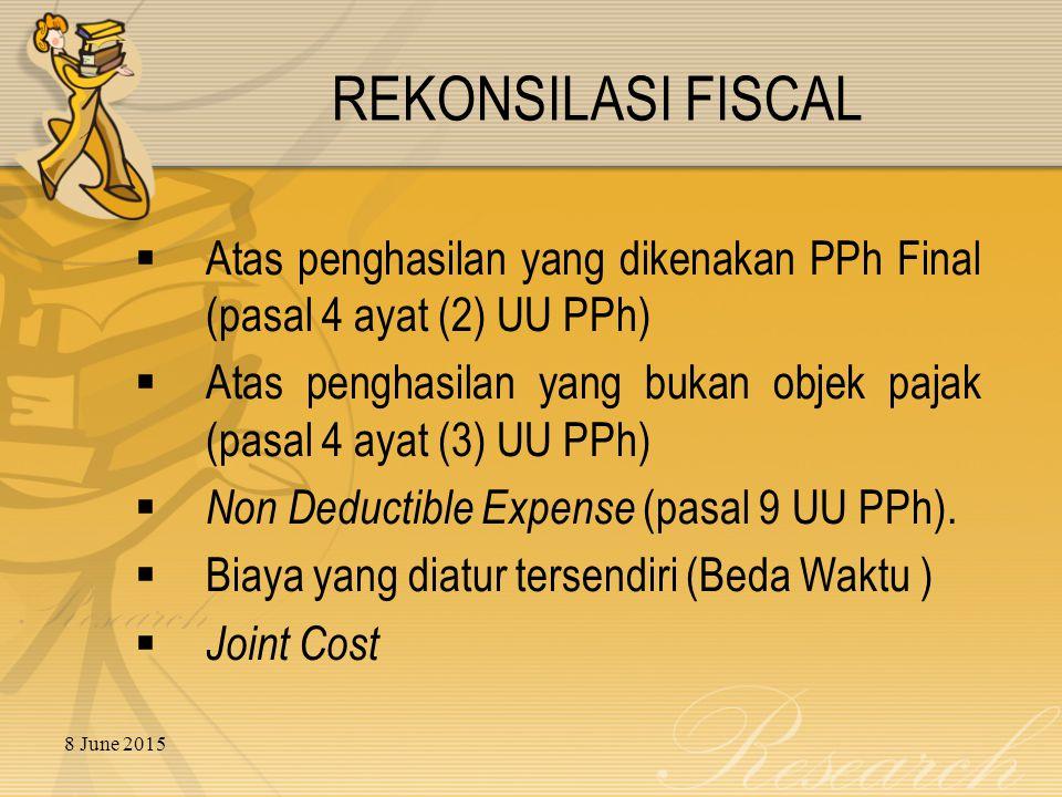 REKONSILASI FISCAL Atas penghasilan yang dikenakan PPh Final (pasal 4 ayat (2) UU PPh)