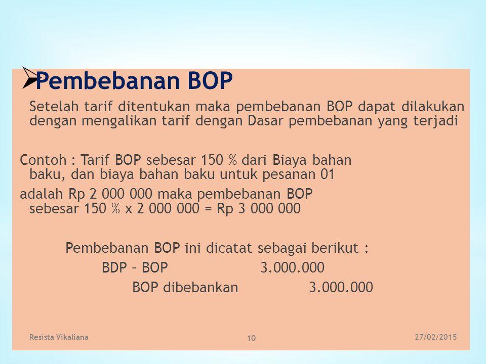 Pembebanan BOP Setelah tarif ditentukan maka pembebanan BOP dapat dilakukan dengan mengalikan tarif dengan Dasar pembebanan yang terjadi.