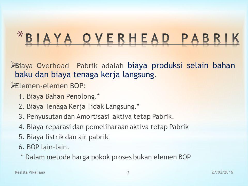 B I A Y A O V E R H E A D P A B R I K Biaya Overhead Pabrik adalah biaya produksi selain bahan baku dan biaya tenaga kerja langsung.