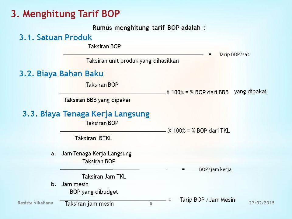 3. Menghitung Tarif BOP 3.1. Satuan Produk 3.2. Biaya Bahan Baku