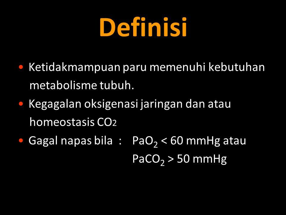 Definisi Ketidakmampuan paru memenuhi kebutuhan metabolisme tubuh.