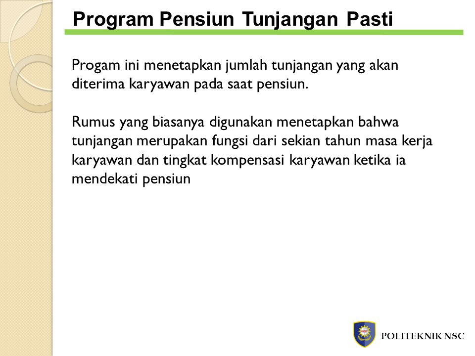 Program Pensiun Tunjangan Pasti