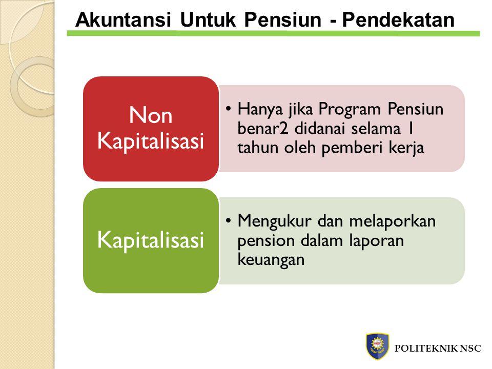 Non Kapitalisasi Kapitalisasi Akuntansi Untuk Pensiun - Pendekatan