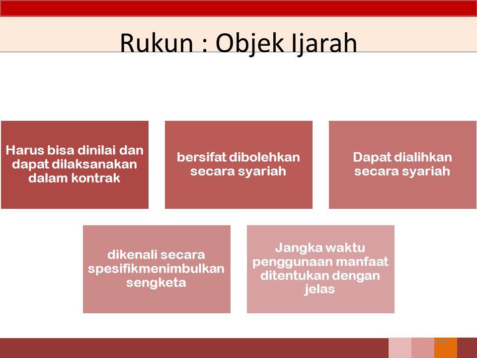 Rukun : Objek Ijarah Harus bisa dinilai dan dapat dilaksanakan dalam kontrak. bersifat dibolehkan secara syariah.