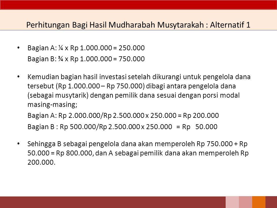 Perhitungan Bagi Hasil Mudharabah Musytarakah : Alternatif 1