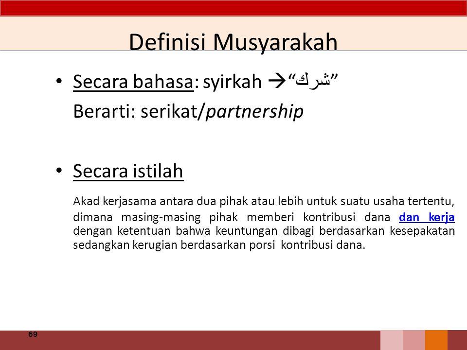 Definisi Musyarakah Secara bahasa: syirkah  شرك