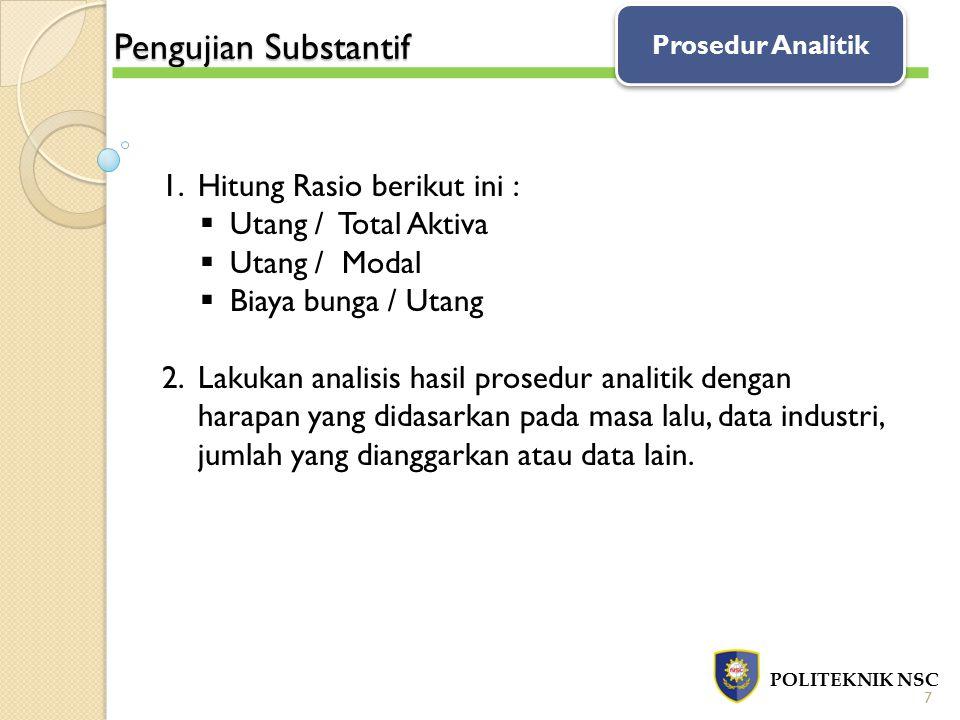 Pengujian Substantif Hitung Rasio berikut ini : Utang / Total Aktiva