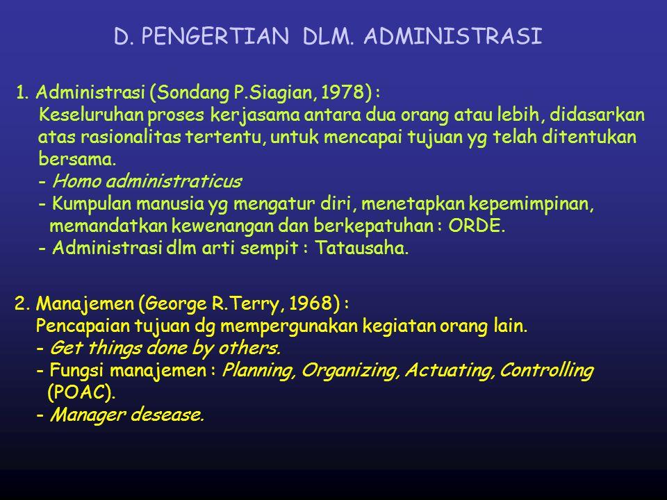 D. PENGERTIAN DLM. ADMINISTRASI
