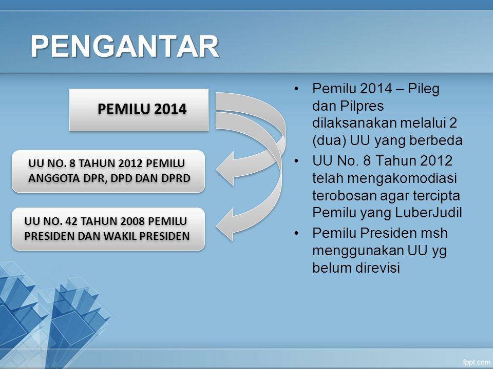 PENGANTAR Pemilu 2014 – Pileg dan Pilpres dilaksanakan melalui 2 (dua) UU yang berbeda.