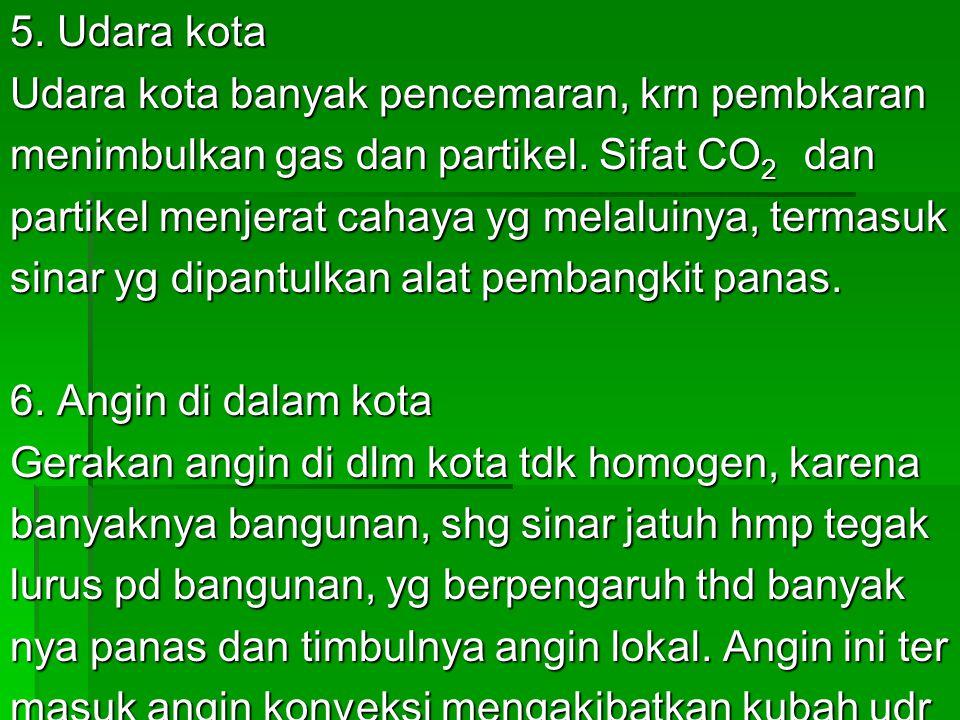 5. Udara kota Udara kota banyak pencemaran, krn pembkaran menimbulkan gas dan partikel.