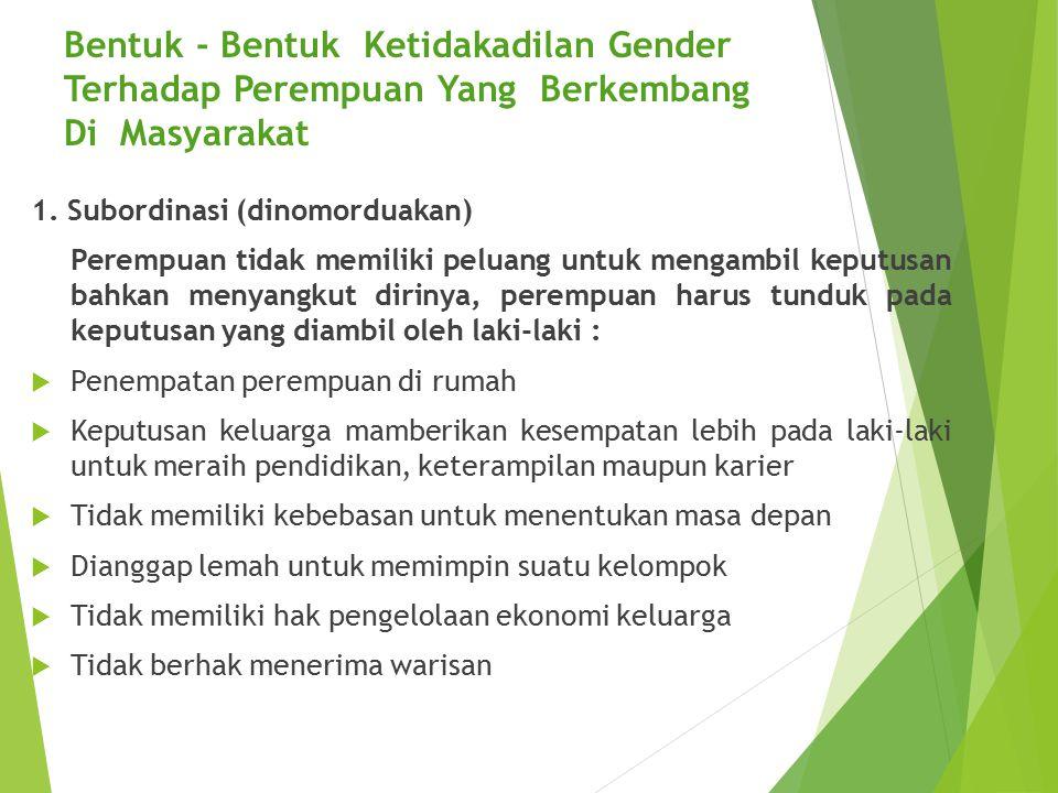 Bentuk - Bentuk Ketidakadilan Gender Terhadap Perempuan Yang Berkembang Di Masyarakat