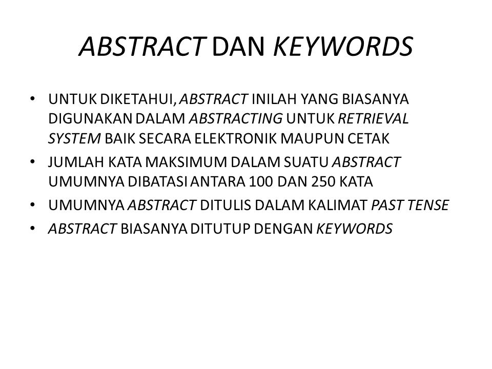 ABSTRACT DAN KEYWORDS