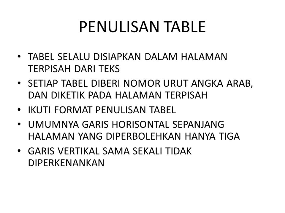 PENULISAN TABLE TABEL SELALU DISIAPKAN DALAM HALAMAN TERPISAH DARI TEKS.