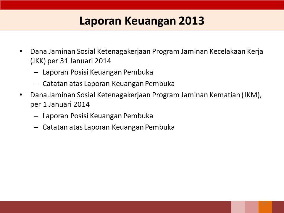 Laporan Keuangan 2013 Dana Jaminan Sosial Ketenagakerjaan Program Jaminan Kecelakaan Kerja (JKK) per 31 Januari 2014.