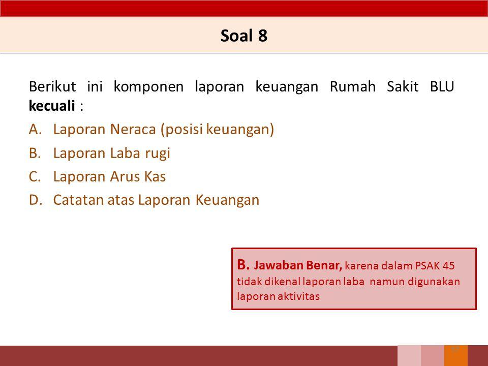 Soal 8 Berikut ini komponen laporan keuangan Rumah Sakit BLU kecuali :