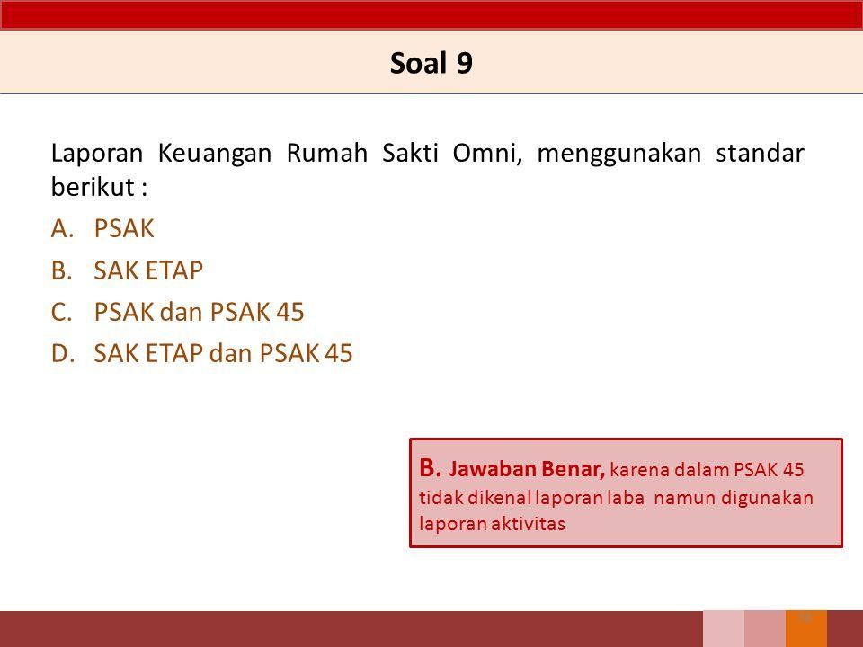 Soal 9 Laporan Keuangan Rumah Sakti Omni, menggunakan standar berikut : PSAK. SAK ETAP. PSAK dan PSAK 45.