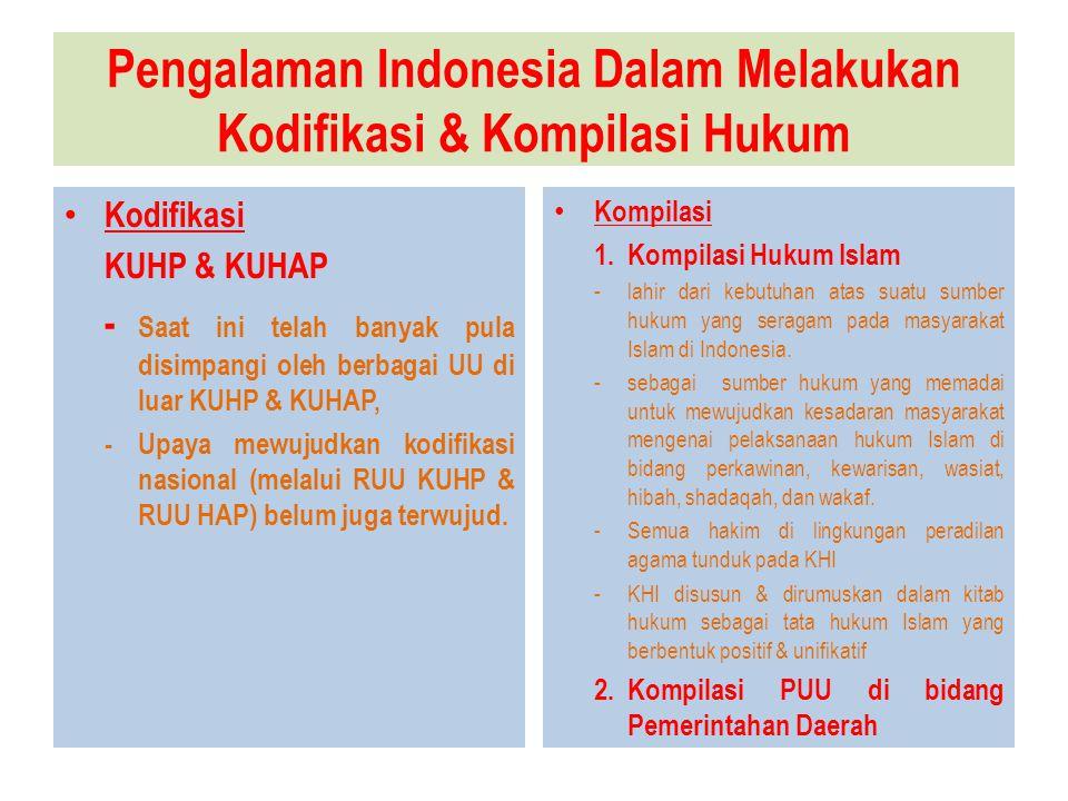 Pengalaman Indonesia Dalam Melakukan Kodifikasi & Kompilasi Hukum