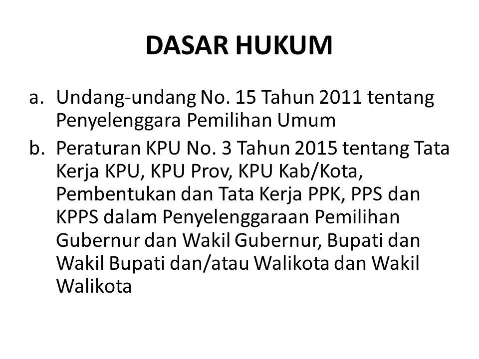DASAR HUKUM Undang-undang No. 15 Tahun 2011 tentang Penyelenggara Pemilihan Umum.