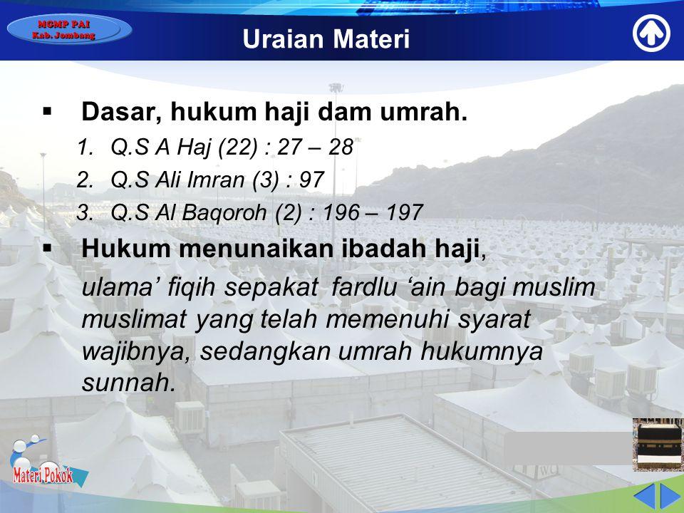 Materi Pokok Uraian Materi Dasar, hukum haji dam umrah.