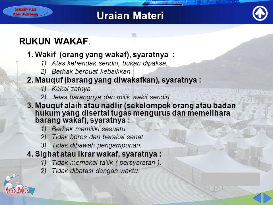 Materi Pokok Uraian Materi RUKUN WAKAF.
