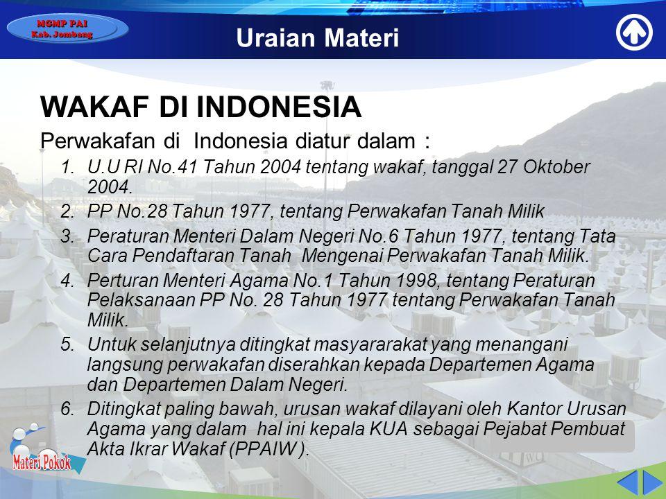 Materi Pokok WAKAF DI INDONESIA Uraian Materi