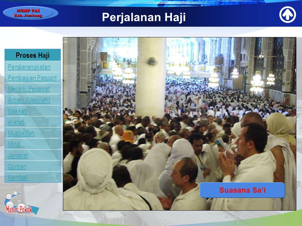 Materi Pokok Perjalanan Haji Proses Haji Suasana Sa'i Pemberangkatan