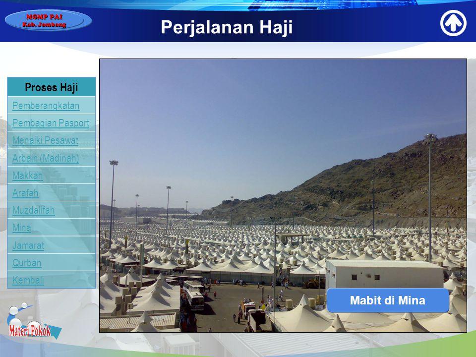 Materi Pokok Perjalanan Haji Proses Haji Mabit di Mina Pemberangkatan