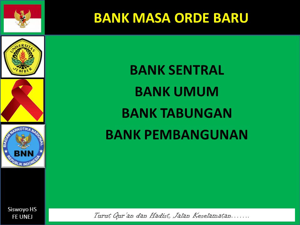 BANK SENTRAL BANK UMUM BANK TABUNGAN BANK PEMBANGUNAN
