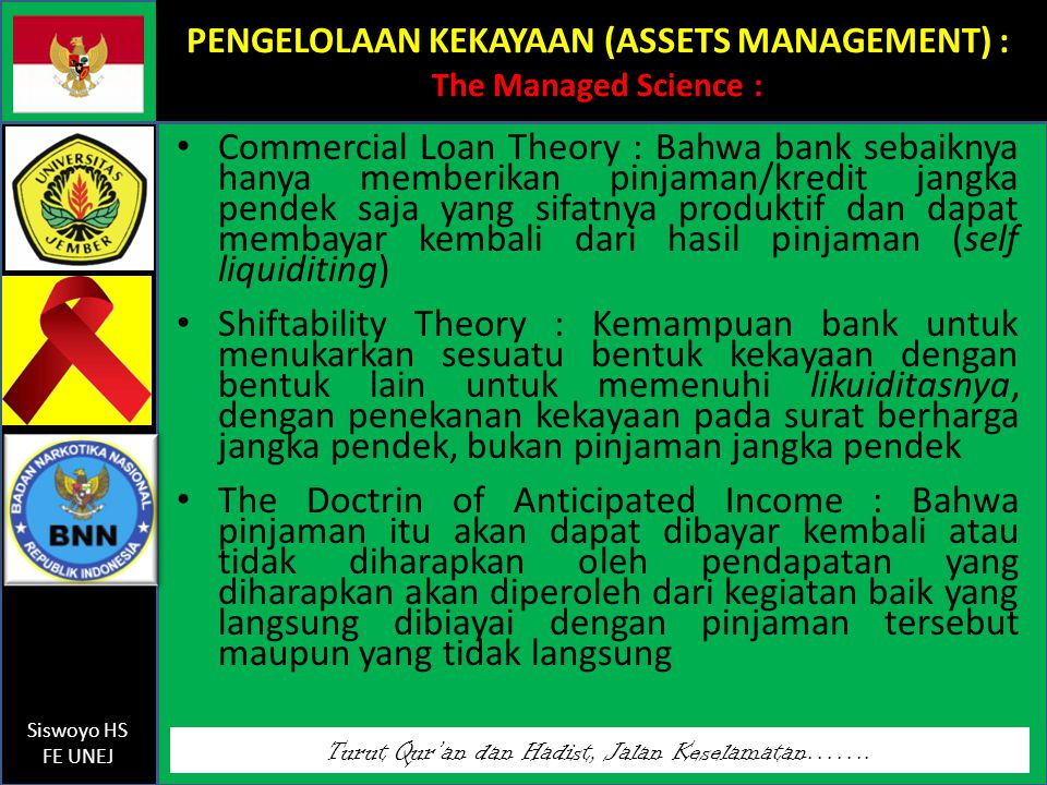 PENGELOLAAN KEKAYAAN (ASSETS MANAGEMENT) : The Managed Science :
