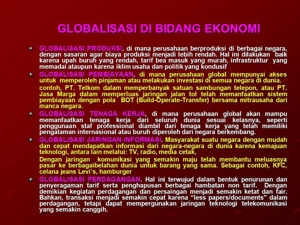 GLOBALISASI DI BIDANG EKONOMI